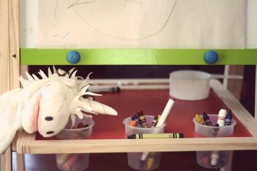 IKEA unicorn art easel crayons